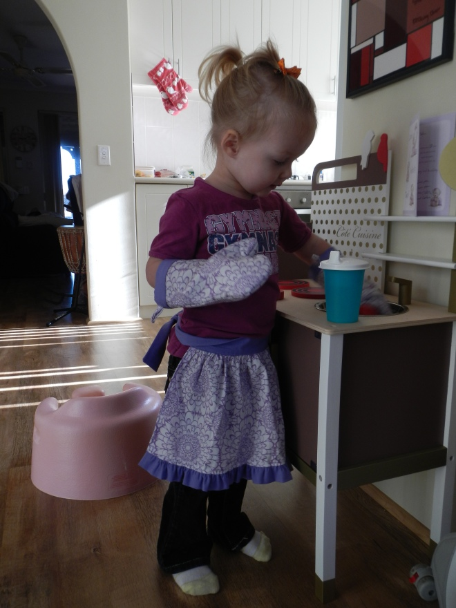 Eden continues to make great use of her play kitchen that she got for her birthday, and all the accessories friends and family have contributed