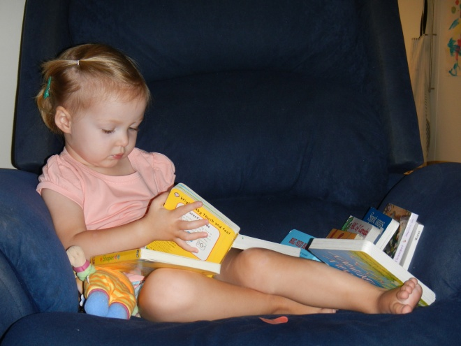 Every parents loves it when the kids occupy themselves quietly with a stack of books!