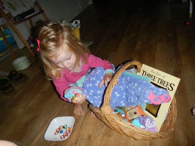 Diligently picking the eggs out of the basket