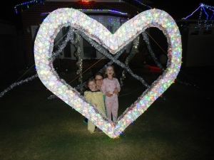 Posing in the love heart!