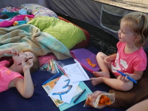 Colouring in the tent